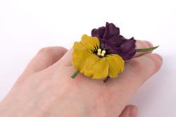 кольцо из кожи Анютины глазки ц.990р