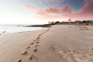 Beach Footprints Leading into a Pink Sun