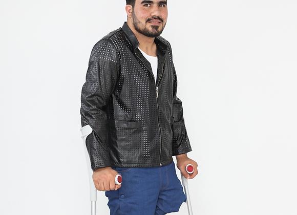 Leather Jacket on White Shirt and Denim Pants