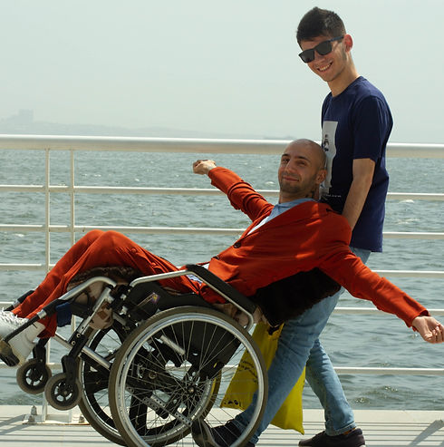 Mahammad Kekalov and a model with the adaptive clothes