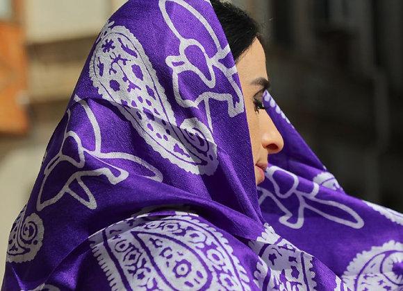 Handmade Silk head scarf - Violet