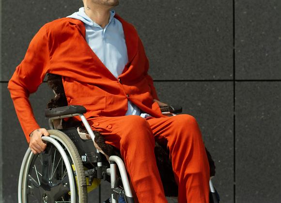 Orange Costume with Light Blue Hoodie Shirt