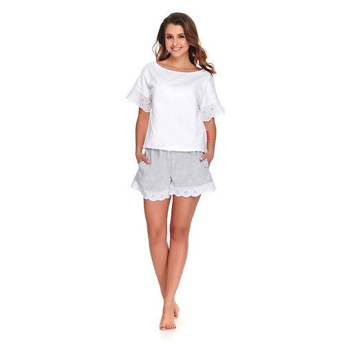 Piżamka krótka biało-szara