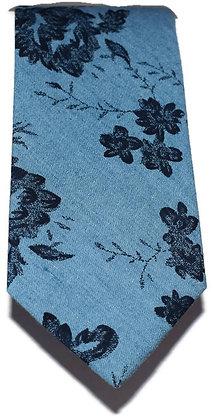 Blue & Navy Floral Skinny Tie