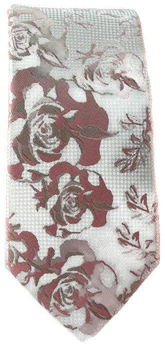 Pink & White Floral Skinny Tie