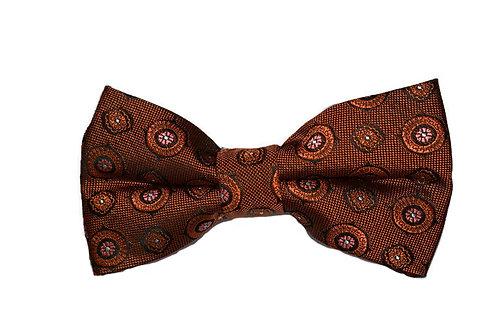 Burnt Orange Patterned Bow Tie