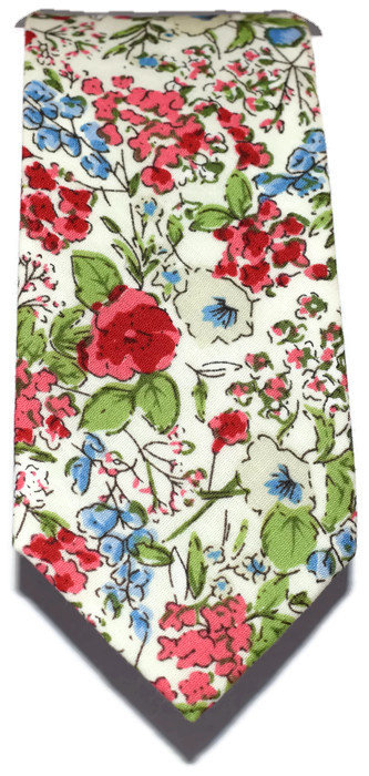 White, Red & Blue Floral Skinny Tie