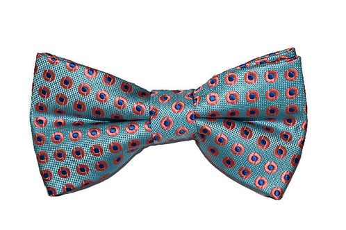 Sky Blue & Pink Patterned Bow Tie