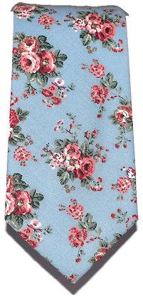Sky Blue & Pink Floral Skinny Tie