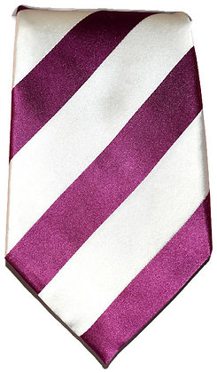 Pink and White Striped Classic Tie