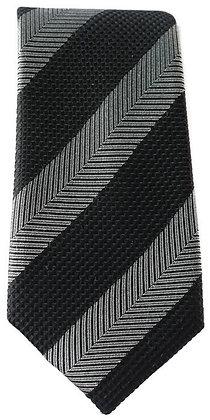 Black and Silver Skinny Tie