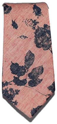 Pink & Navy Floral Skinny Tie