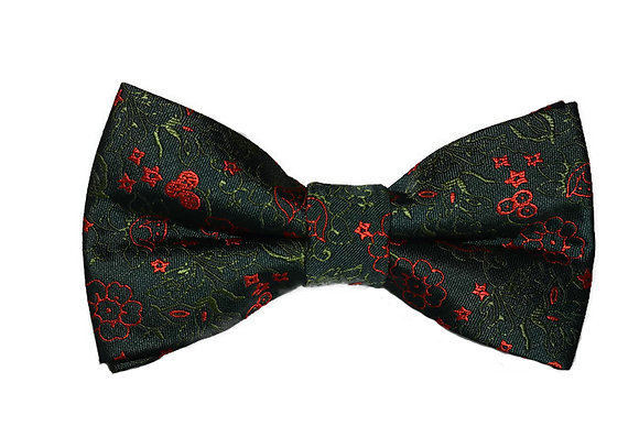 Green & Red Floral Bow Tie