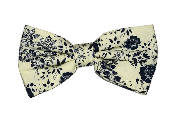 Cream & Navy Floral Bow Tie