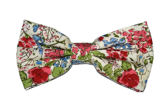 White, Red & Blue Floral Bow Tie