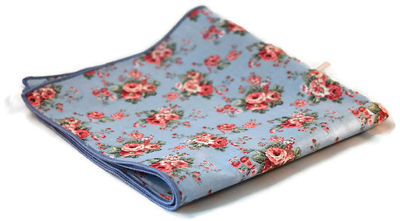 Sky Blue & Pink Floral Pocket Square
