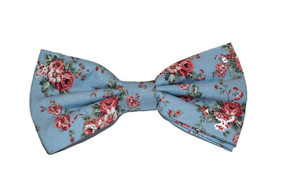 Sky Blue & Pink Floral Bow Tie