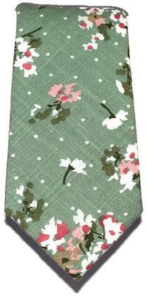 Green Floral Skinny Tie