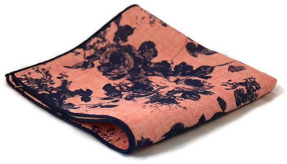 Peach & Blue Floral Pocket Square