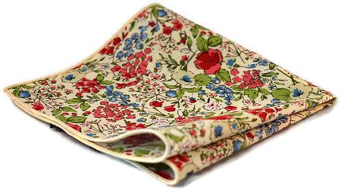 White, Red & Blue Floral Pocket Square