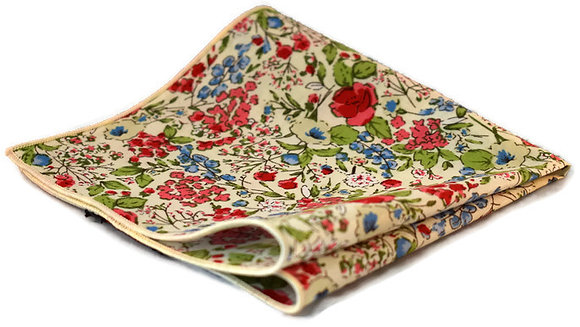 White, Red & Blue Floral Pocket Square
