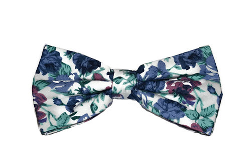 White, Pink & Purple Floral Bow Tie