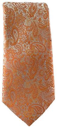 Orange Paisley Skinny Tie