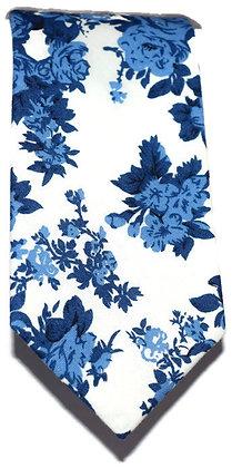 White & Blue Floral Skinny Tie