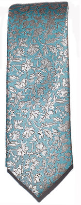 Turquoise Floral Skinny Tie