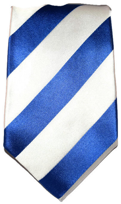 Blue and White Striped Classic Tie