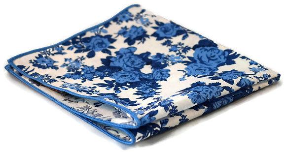 White & Blue Floral Pocket Square