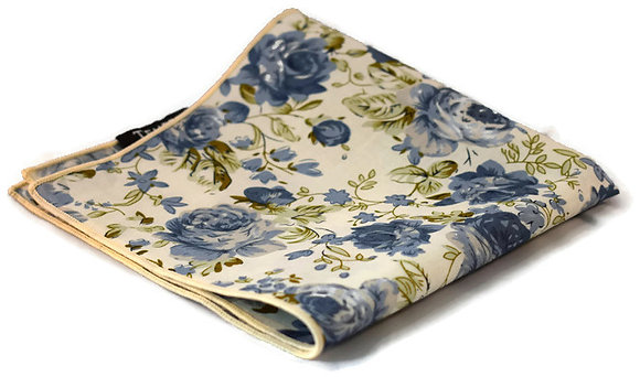 White, Blue & Green Floral Pocket Square
