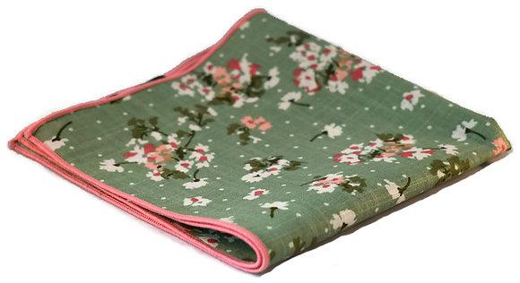 Green Floral Pocket Square