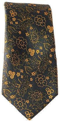 Grey & Gold Floral Skinny Tie
