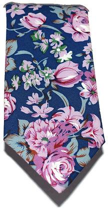 Pink & Blue Floral Skinny Tie