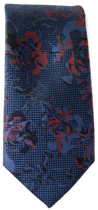 Blue & Red Floral Skinny Tie