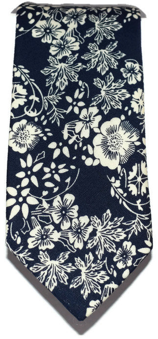Navy & Cream Floral Skinny Tie