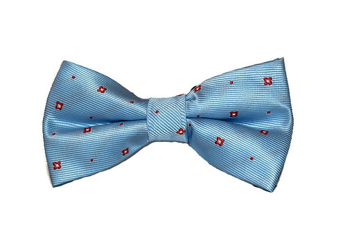Sky Blue Patterned Bow Tie