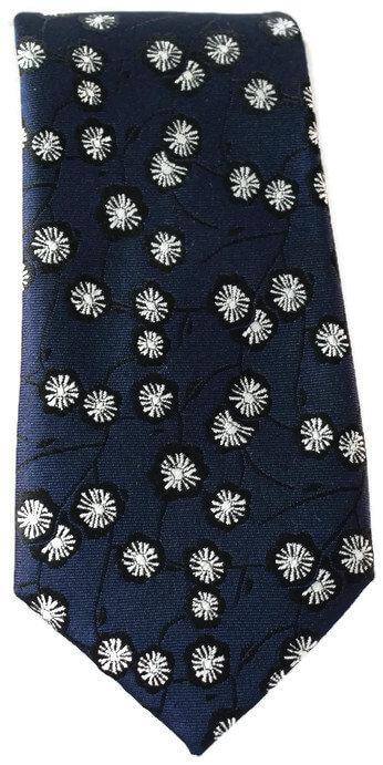 Navy & White Floral Skinny Tie