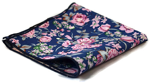 Blue & Pink Floral Pocket Square