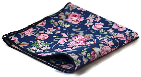 Blue & Pink Floral Pocket Square
