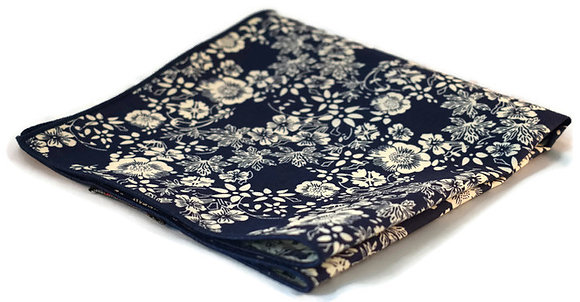 Navy & Cream Floral Pocket Square