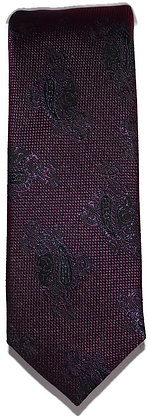 Purple and Black Paisley Skinny Tie