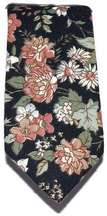 Black Floral Skinny Tie