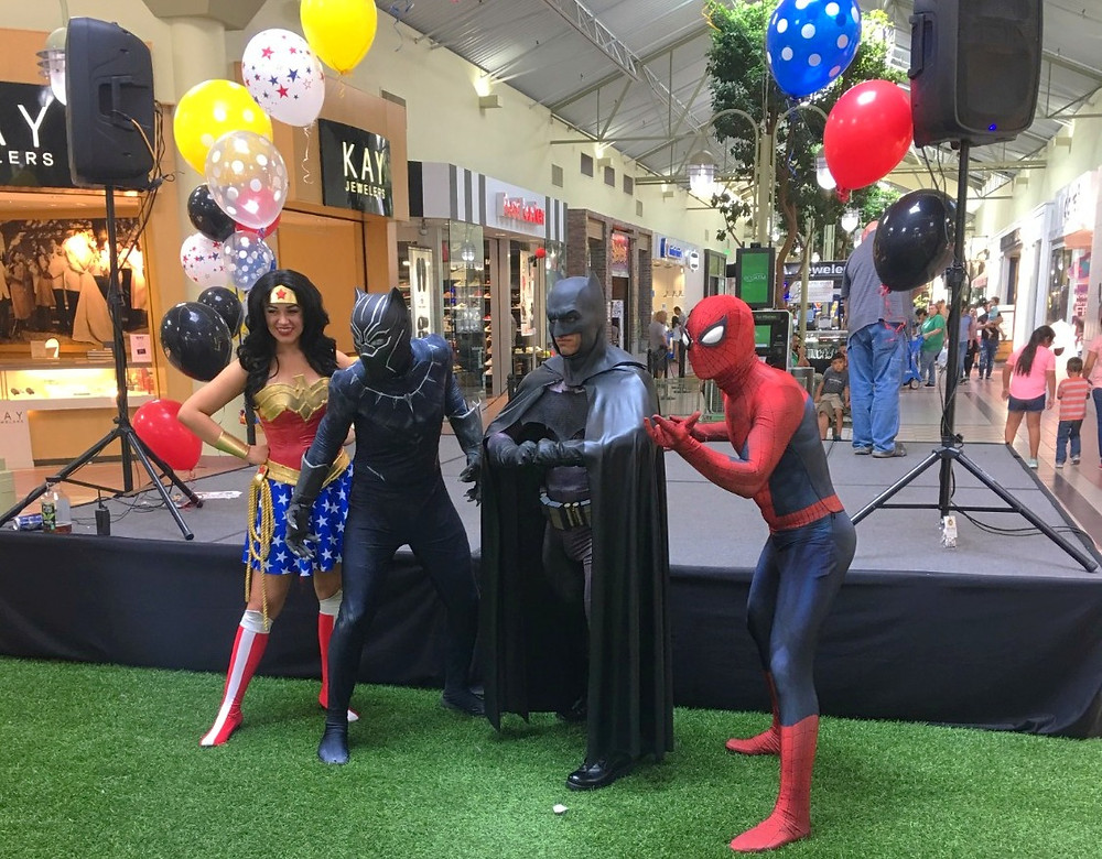 Superhero characters for corporate events, superhero entetainment for public events,