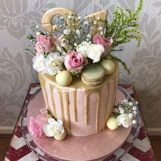 Pink and gold with fresh flowers