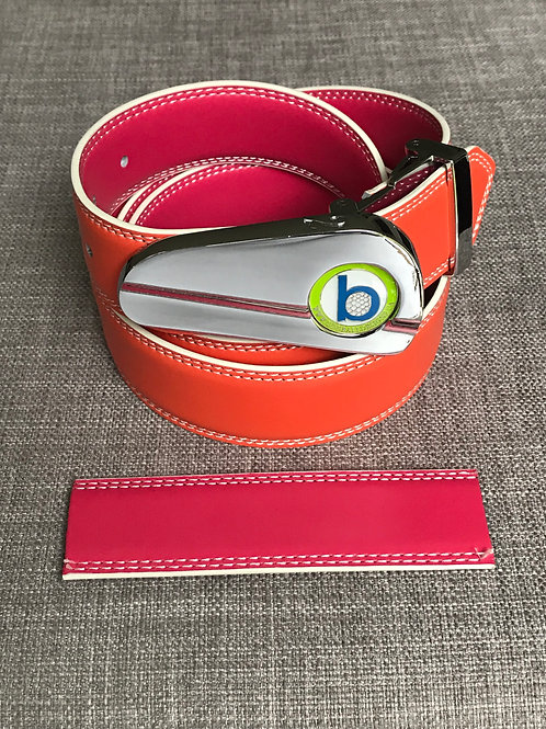 CHROME BUCKLE - REVERSIBLE - ORANGE & PINK