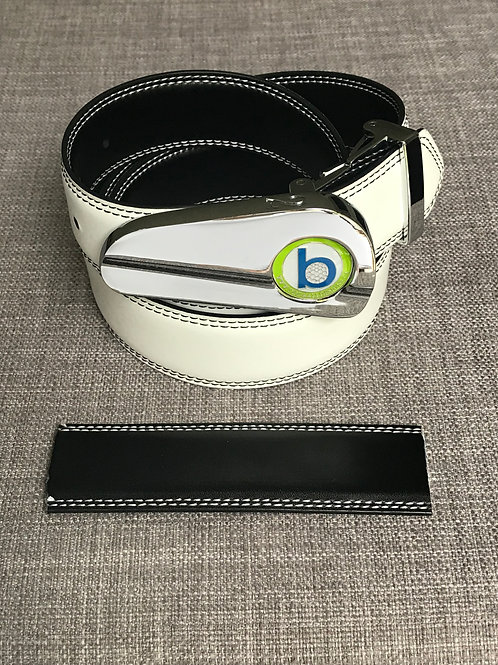 CHROME BUCKLE + WHITE/BLACK BELT