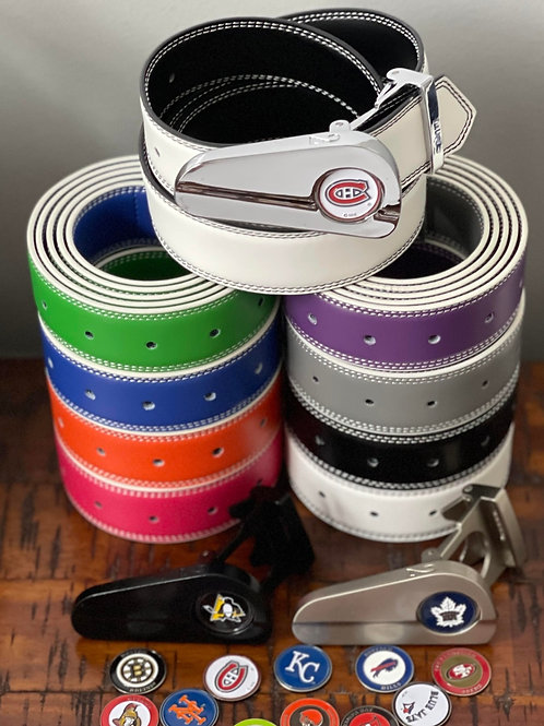 3 BUCKLES + 3 BELTS + 3 MARKERS (Black/White, Grey/Purple Available)