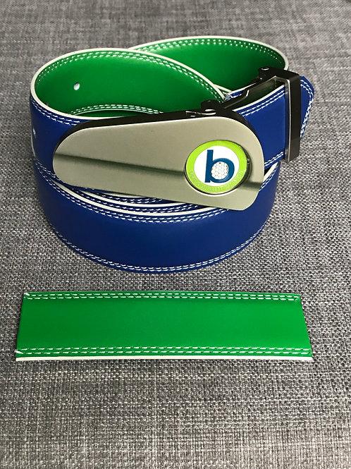 NICKEL BUCKLE + BLUE/GREEN BELT
